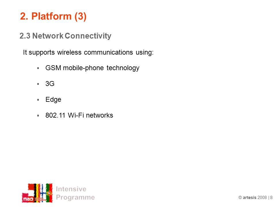 2. Platform (3) 2.3 Network Connectivity