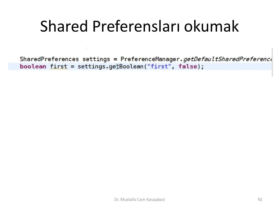 Shared Preferensları okumak