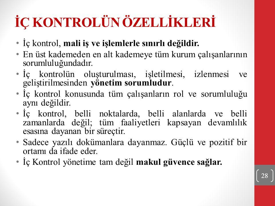 İÇ KONTROLÜN ÖZELLİKLERİ