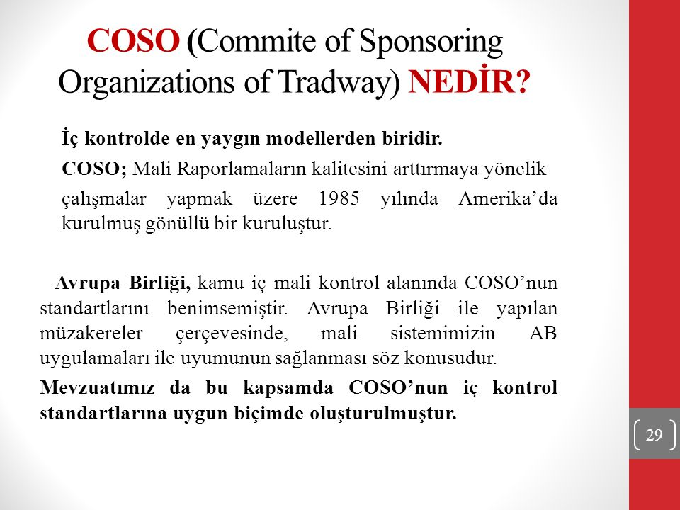 COSO (Commite of Sponsoring Organizations of Tradway) NEDİR