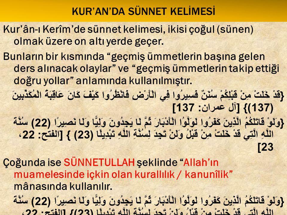 Kur'an'da sünnet kelİMESİ