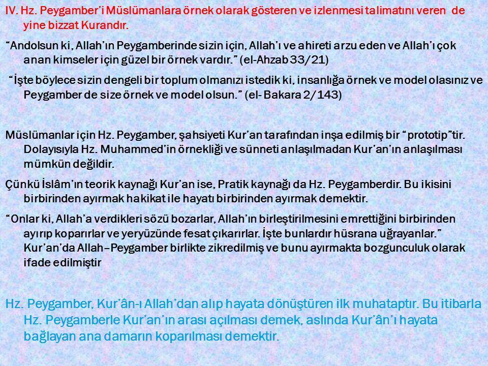 IV. Hz. Peygamber'i Müslümanlara örnek olarak gösteren ve izlenmesi talimatını veren de yine bizzat Kurandır.