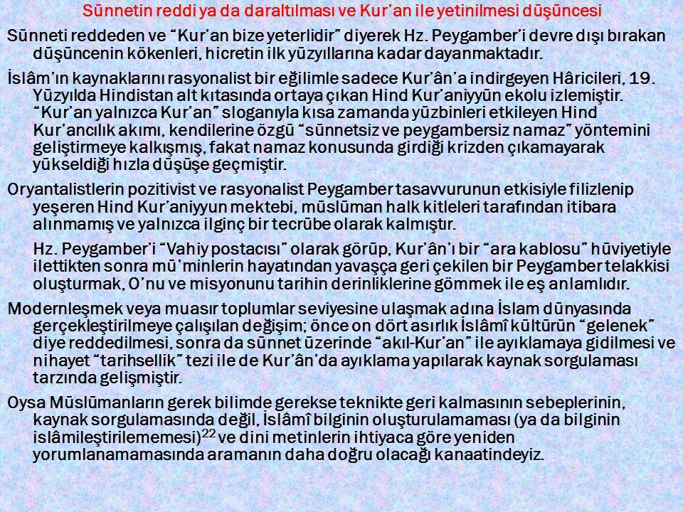 Sünnetin reddi ya da daraltılması ve Kur'an ile yetinilmesi düşüncesi Sünneti reddeden ve Kur'an bize yeterlidir diyerek Hz.