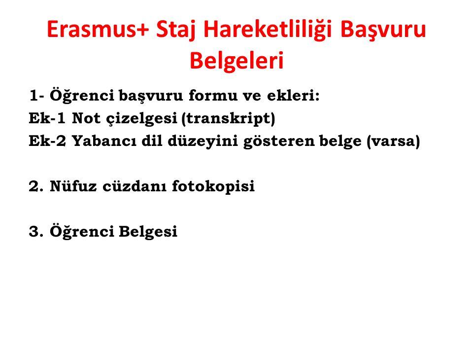 Erasmus+ Staj Hareketliliği Başvuru Belgeleri