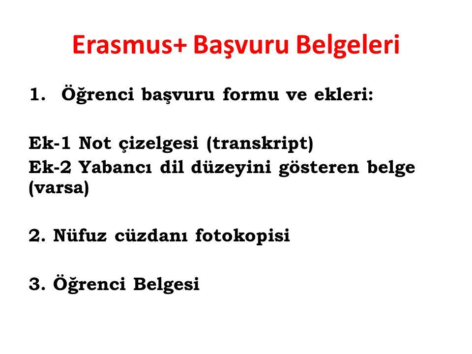 Erasmus+ Başvuru Belgeleri