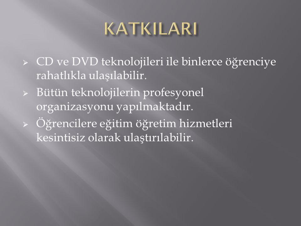 KATKILARI CD ve DVD teknolojileri ile binlerce öğrenciye rahatlıkla ulaşılabilir. Bütün teknolojilerin profesyonel organizasyonu yapılmaktadır.