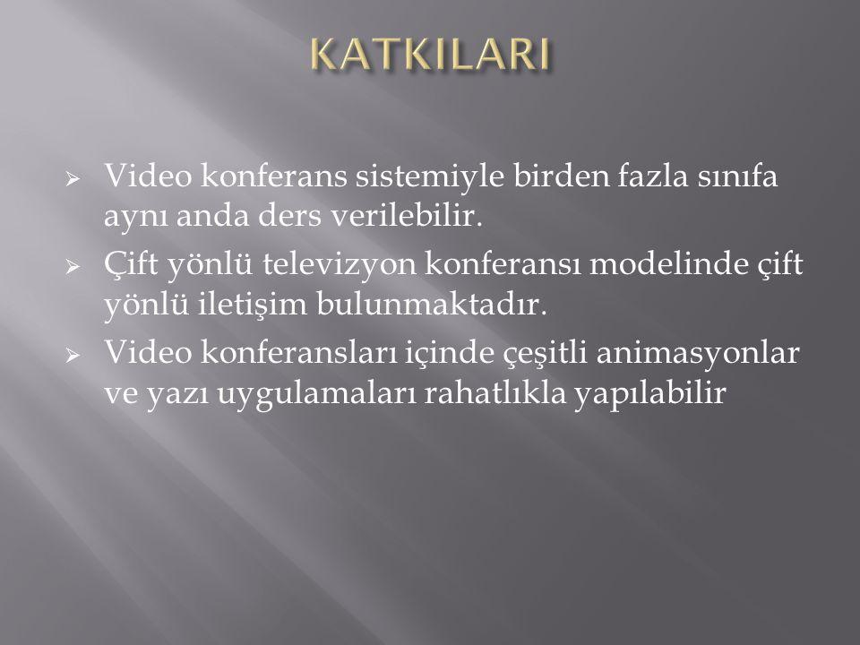 KATKILARI Video konferans sistemiyle birden fazla sınıfa aynı anda ders verilebilir.