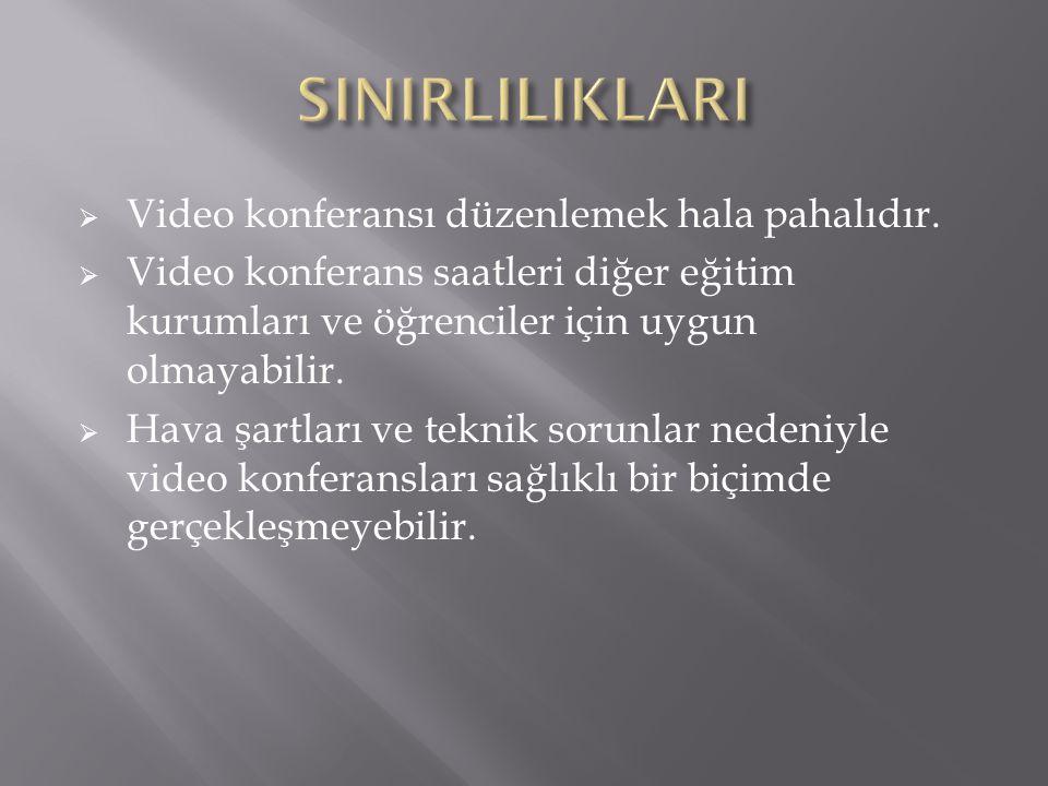SINIRLILIKLARI Video konferansı düzenlemek hala pahalıdır.