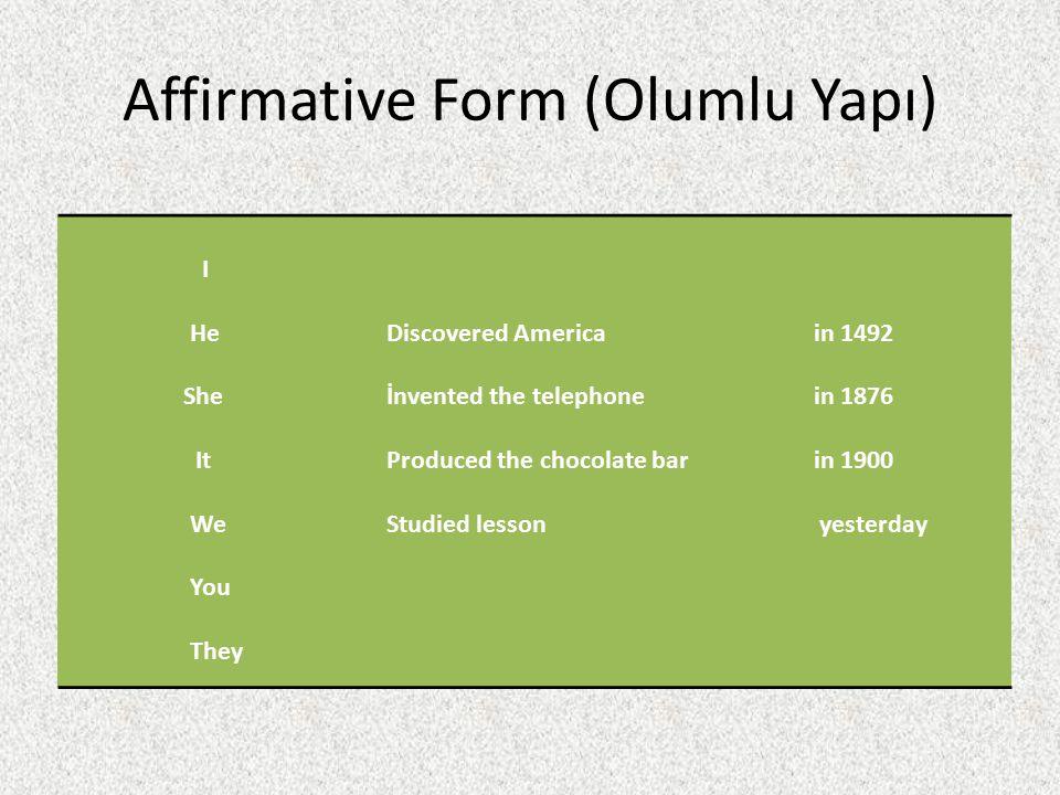Affirmative Form (Olumlu Yapı)