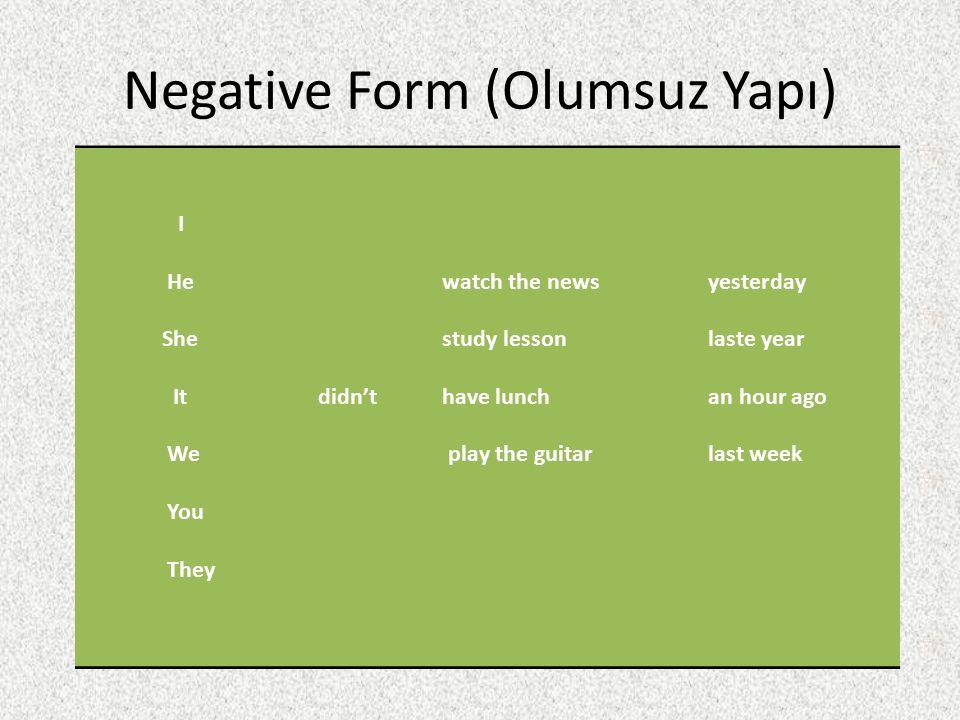 Negative Form (Olumsuz Yapı)