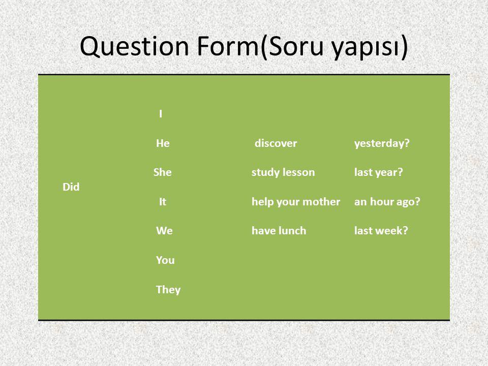 Question Form(Soru yapısı)