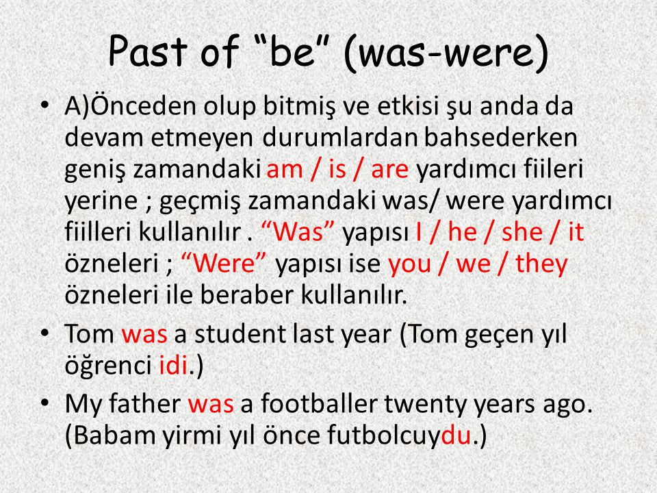 Past of be (was-were)