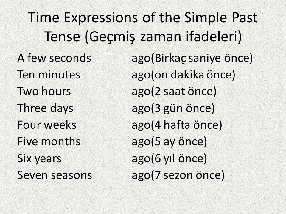 Time Expressions of the Simple Past Tense (Geçmiş zaman ifadeleri)