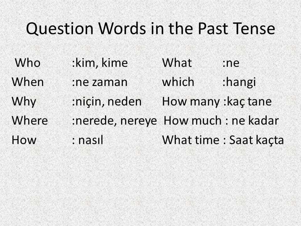 Question Words in the Past Tense