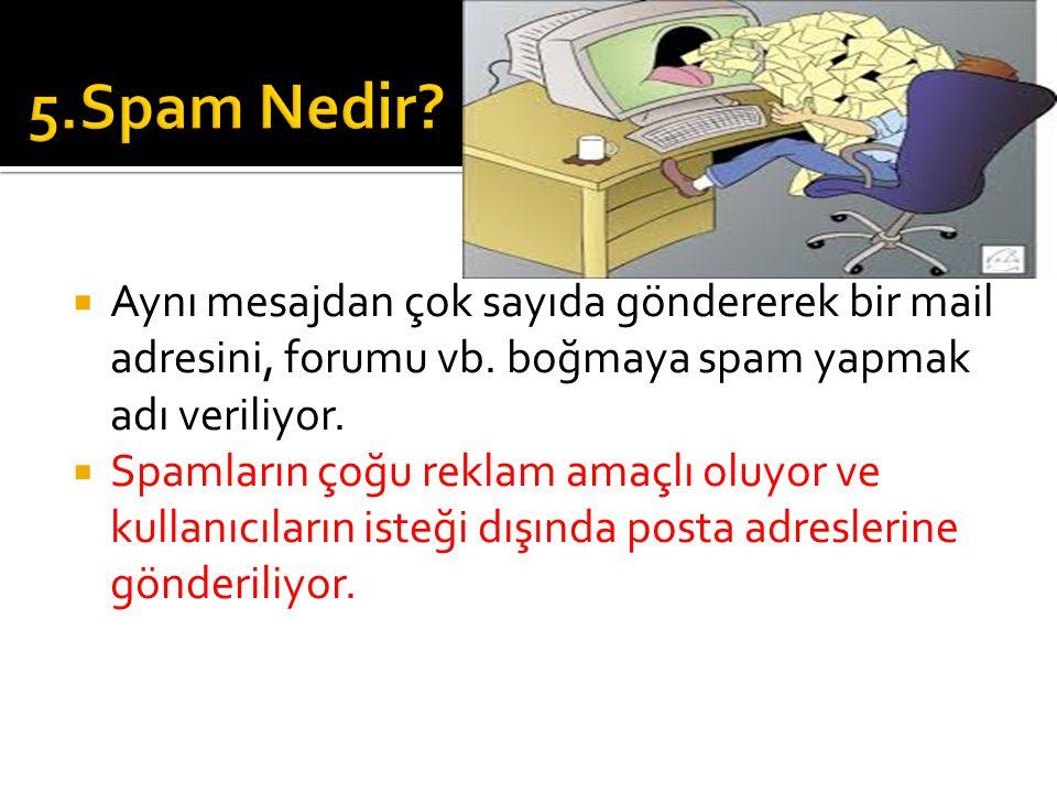 5.Spam Nedir Aynı mesajdan çok sayıda göndererek bir mail adresini, forumu vb. boğmaya spam yapmak adı veriliyor.