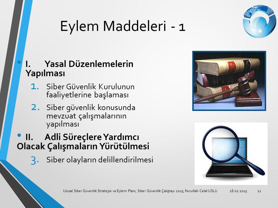 Eylem Maddeleri - 1 I. Yasal Düzenlemelerin Yapılması