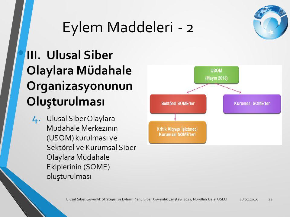 Eylem Maddeleri - 2 III. Ulusal Siber Olaylara Müdahale Organizasyonunun Oluşturulması.
