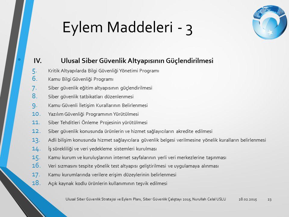 Eylem Maddeleri - 3 IV. Ulusal Siber Güvenlik Altyapısının Güçlendirilmesi. Kritik Altyapılarda Bilgi Güvenliği Yönetimi Programı.