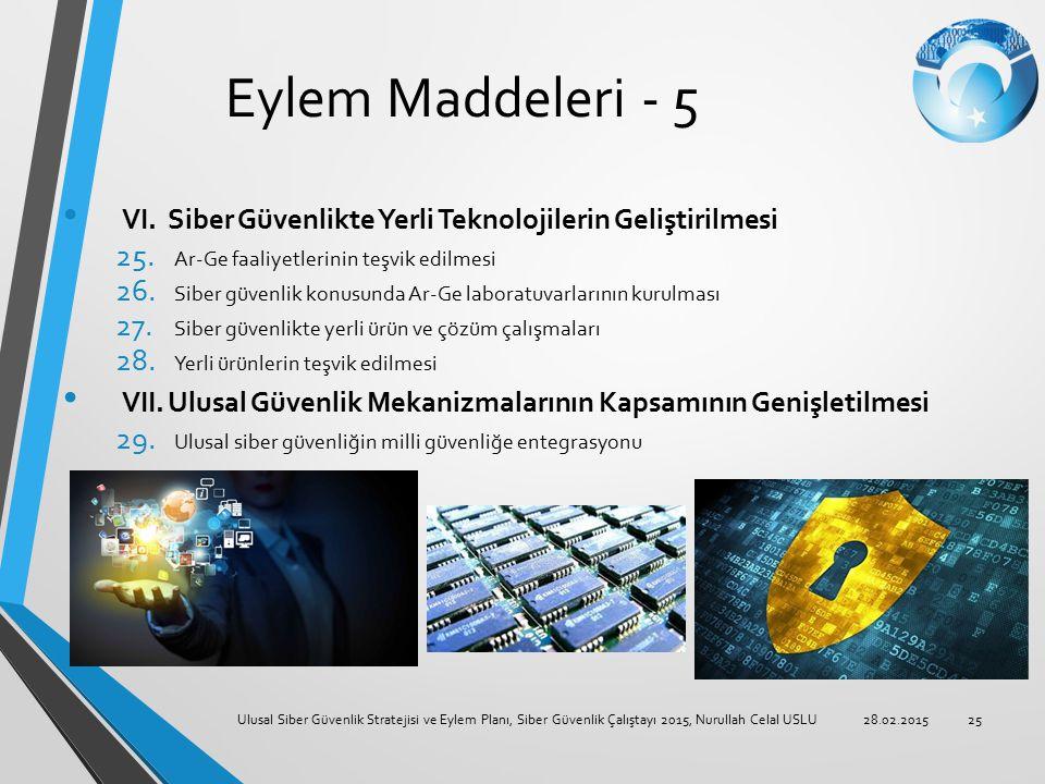 Eylem Maddeleri - 5 VI. Siber Güvenlikte Yerli Teknolojilerin Geliştirilmesi. Ar-Ge faaliyetlerinin teşvik edilmesi.