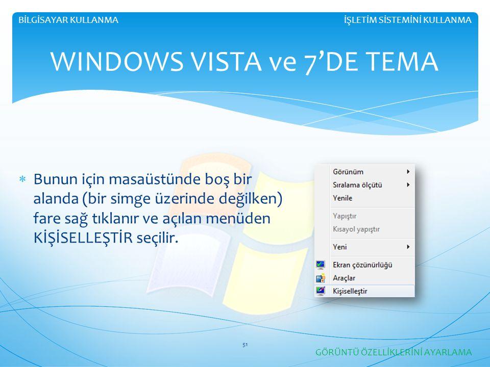 WINDOWS VISTA ve 7'DE TEMA