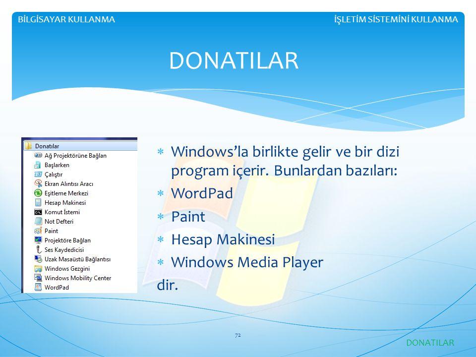 BİLGİSAYAR KULLANMA İŞLETİM SİSTEMİNİ KULLANMA. DONATILAR. Windows'la birlikte gelir ve bir dizi program içerir. Bunlardan bazıları: