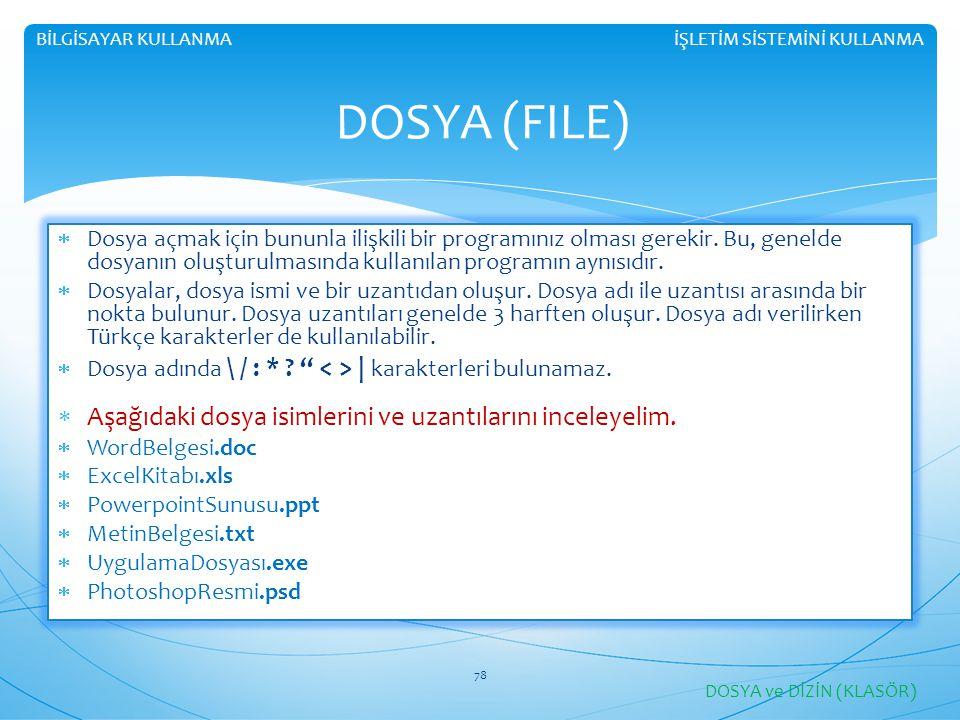DOSYA (FILE) Aşağıdaki dosya isimlerini ve uzantılarını inceleyelim.