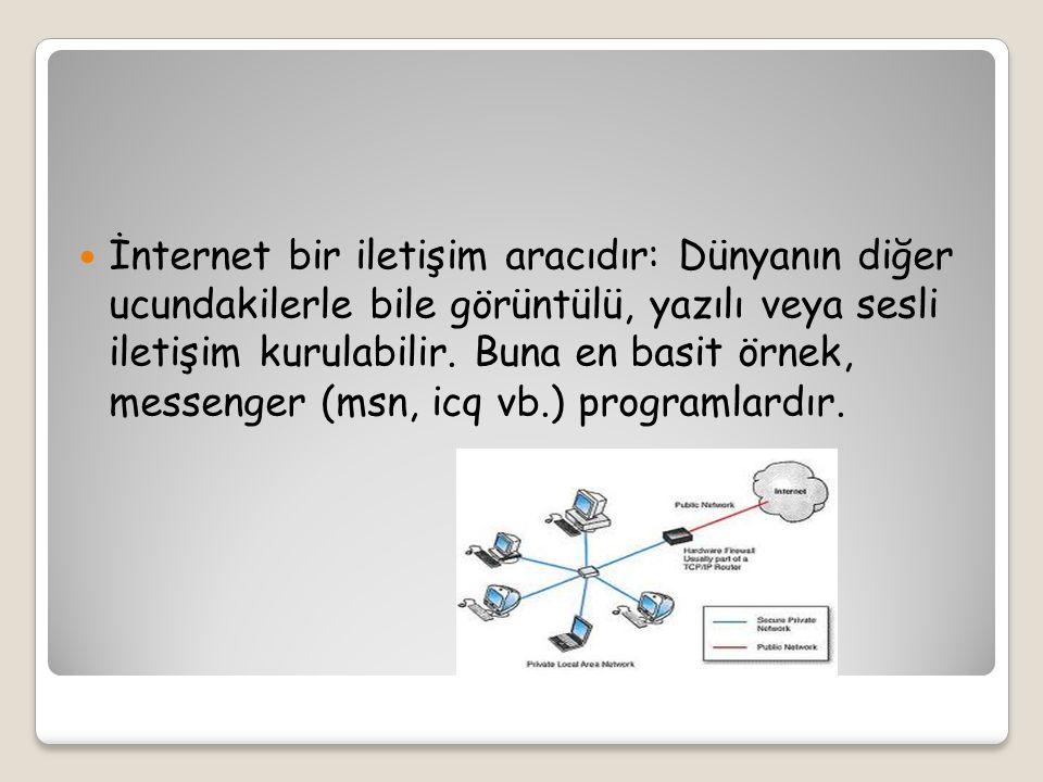 İnternet bir iletişim aracıdır: Dünyanın diğer ucundakilerle bile görüntülü, yazılı veya sesli iletişim kurulabilir.