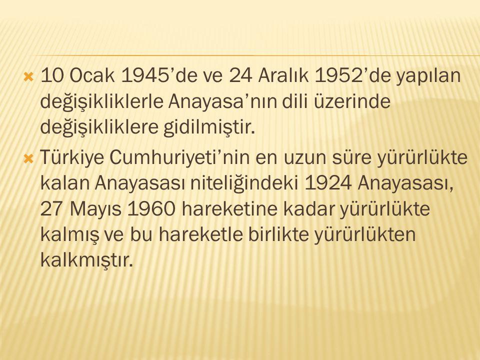 10 Ocak 1945'de ve 24 Aralık 1952'de yapılan değişikliklerle Anayasa'nın dili üzerinde değişikliklere gidilmiştir.