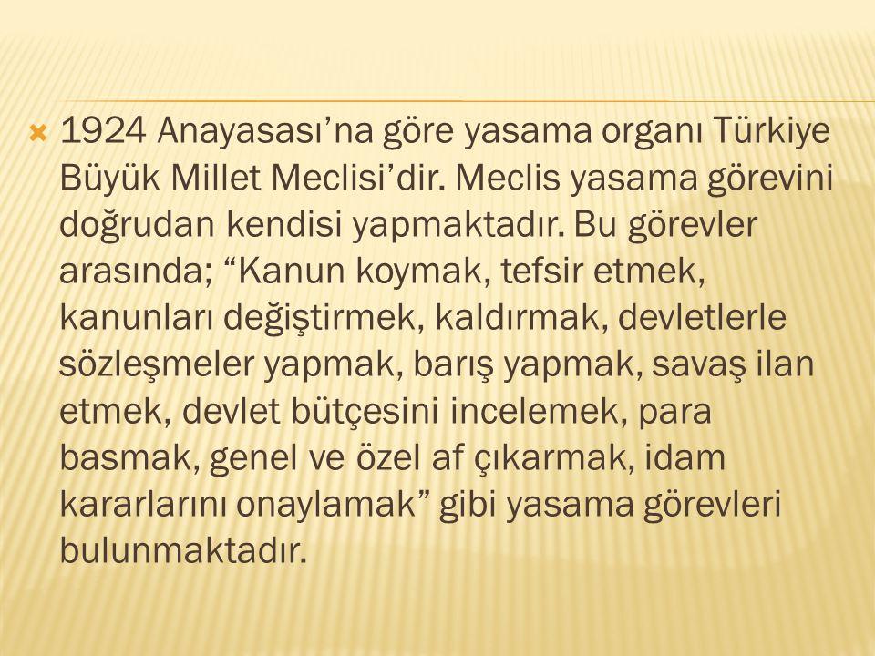 1924 Anayasası'na göre yasama organı Türkiye Büyük Millet Meclisi'dir