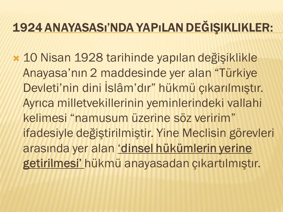 1924 Anayasası'nda Yapılan Değişiklikler: