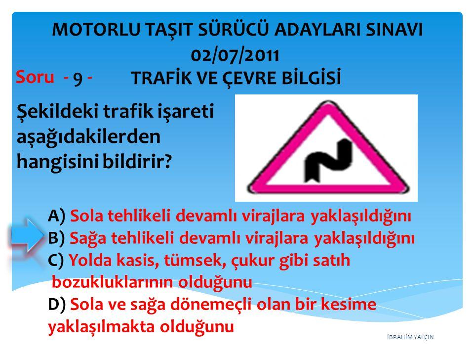 Şekildeki trafik işareti aşağıdakilerden hangisini bildirir