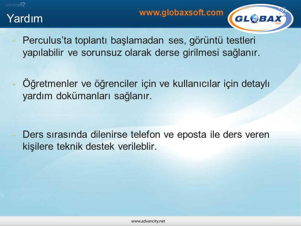 Yardım www.globaxsoft.com. Perculus'ta toplantı başlamadan ses, görüntü testleri yapılabilir ve sorunsuz olarak derse girilmesi sağlanır.