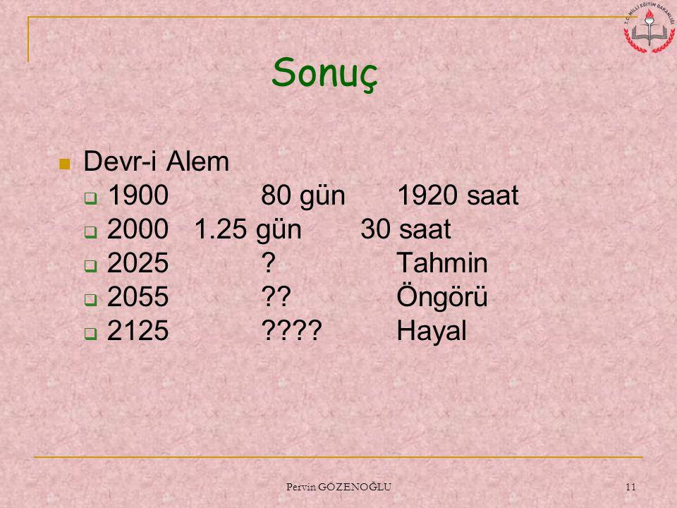 Sonuç Devr-i Alem 1900 80 gün 1920 saat 2000 1.25 gün 30 saat