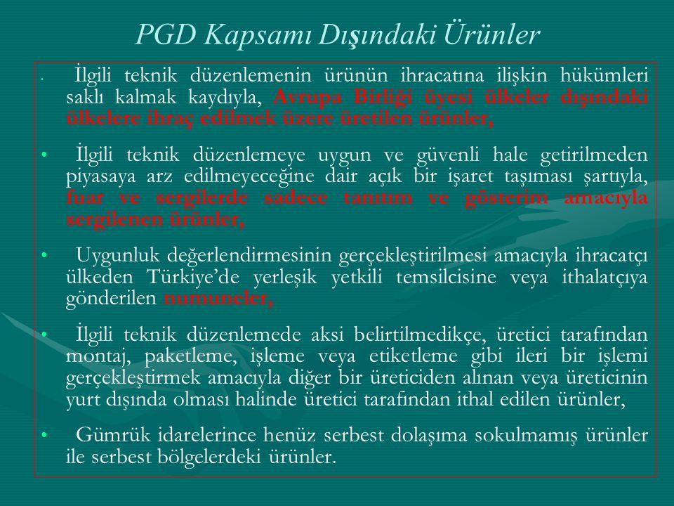 PGD Kapsamı Dışındaki Ürünler