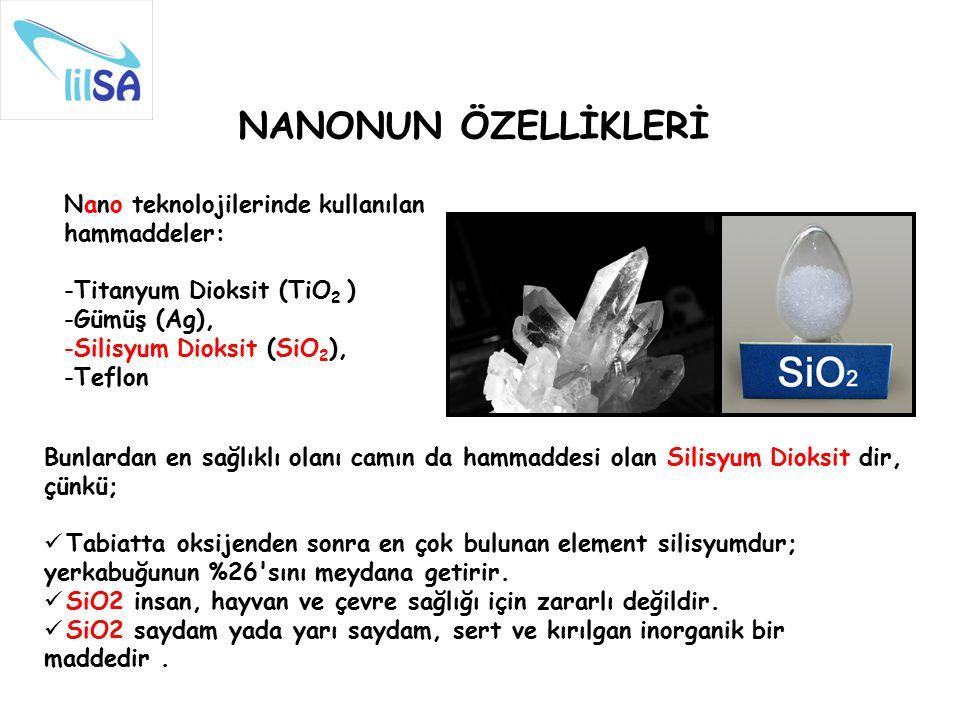 NANONUN ÖZELLİKLERİ Nano teknolojilerinde kullanılan hammaddeler: