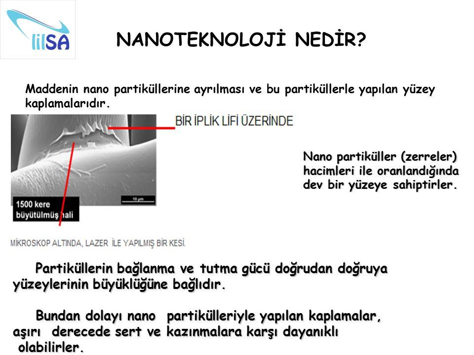 NANOTEKNOLOJİ NEDİR Maddenin nano partiküllerine ayrılması ve bu partiküllerle yapılan yüzey kaplamalarıdır.