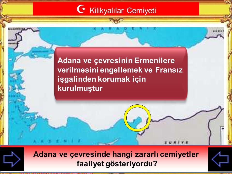 Adana ve çevresinde hangi zararlı cemiyetler faaliyet gösteriyordu