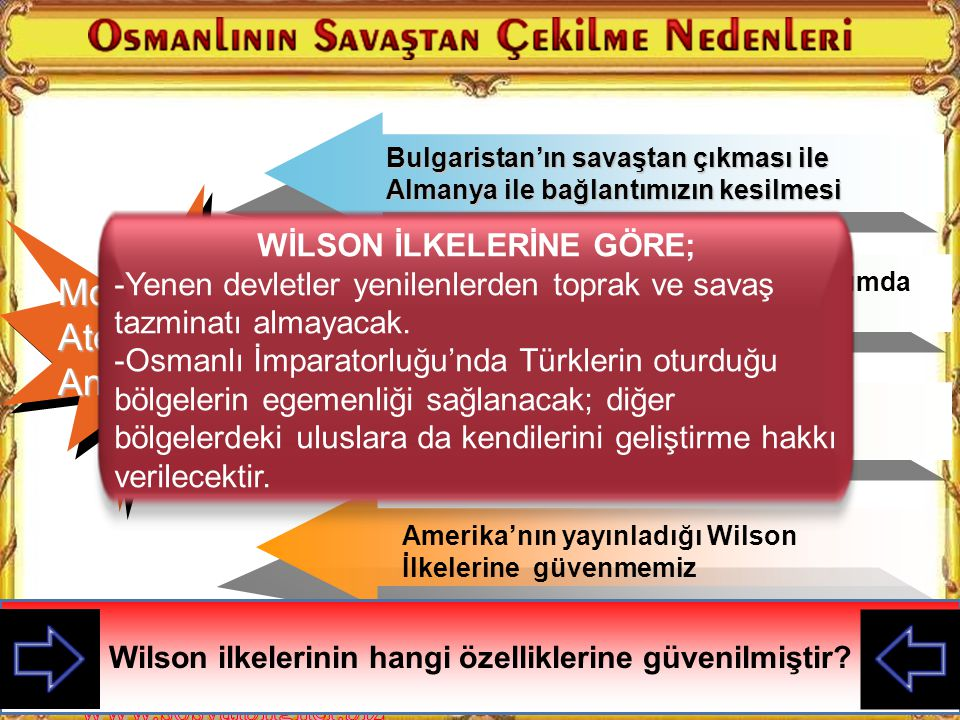 WİLSON İLKELERİNE GÖRE;
