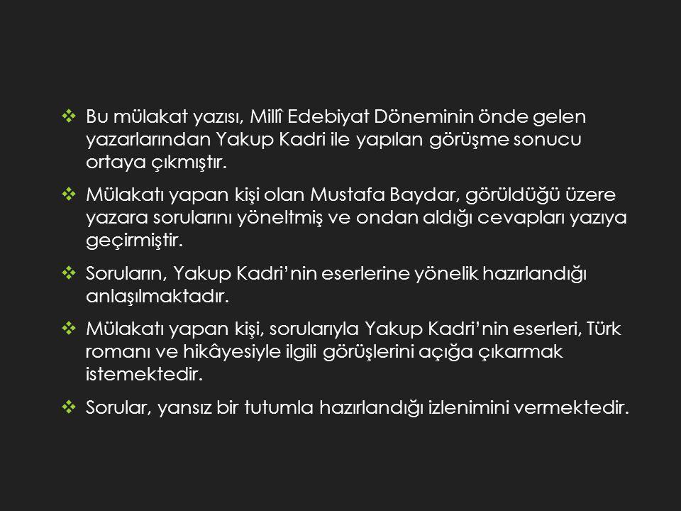 Bu mülakat yazısı, Millî Edebiyat Döneminin önde gelen yazarlarından Yakup Kadri ile yapılan görüşme sonucu ortaya çıkmıştır.