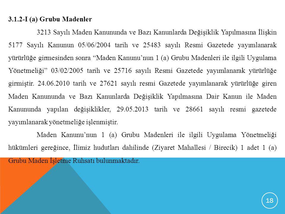 3.1.2-I (a) Grubu Madenler
