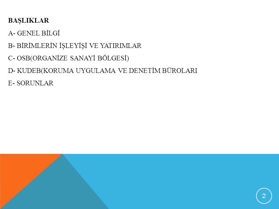 BAŞLIKLAR A- GENEL BİLGİ