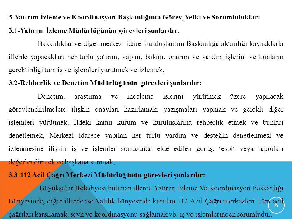 3-Yatırım İzleme ve Koordinasyon Başkanlığının Görev, Yetki ve Sorumlulukları