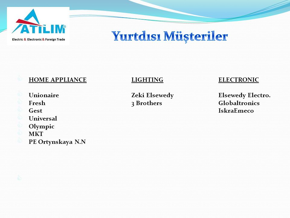 Yurtdısı Müşteriler HOME APPLIANCE LIGHTING ELECTRONIC
