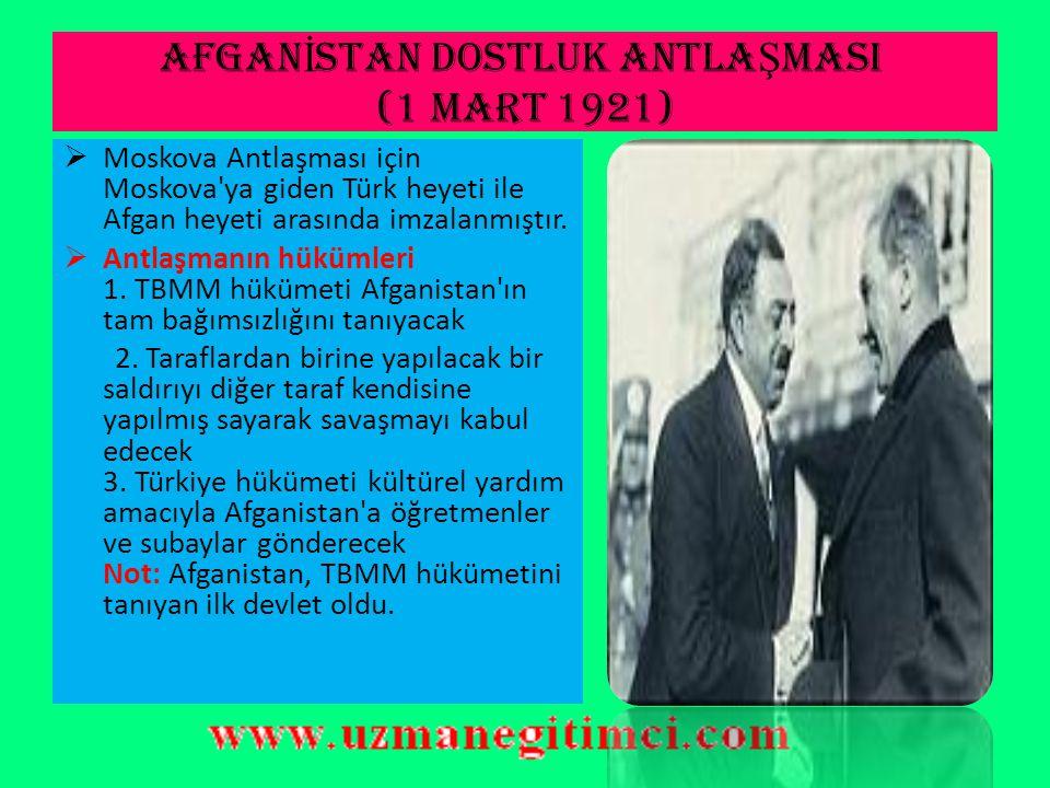 AFGANİSTAN DOSTLUK ANTLAŞMASI (1 Mart 1921)