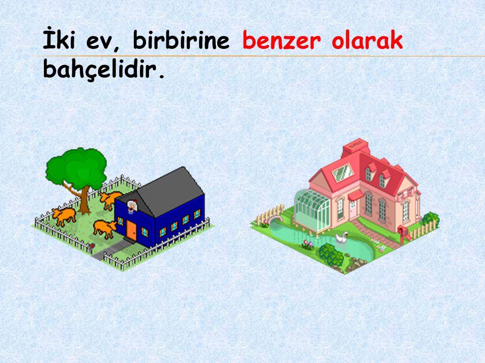 İki ev, birbirine benzer olarak bahçelidir.