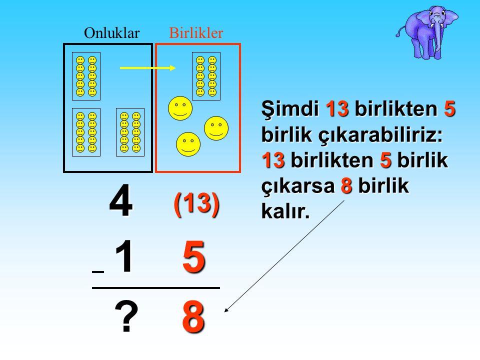 Onluklar Birlikler. Şimdi 13 birlikten 5 birlik çıkarabiliriz: 13 birlikten 5 birlik çıkarsa 8 birlik kalır.