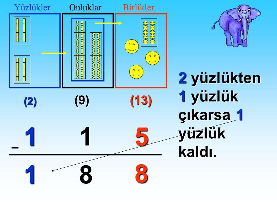 1 1 5 1 8 8 2 yüzlükten 1 yüzlük çıkarsa 1 yüzlük kaldı. (9) (13) (2)