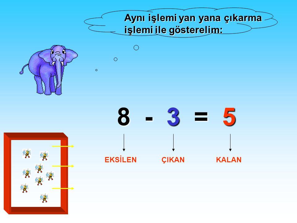 8 - 3 = 5 Aynı işlemi yan yana çıkarma işlemi ile gösterelim: EKSİLEN