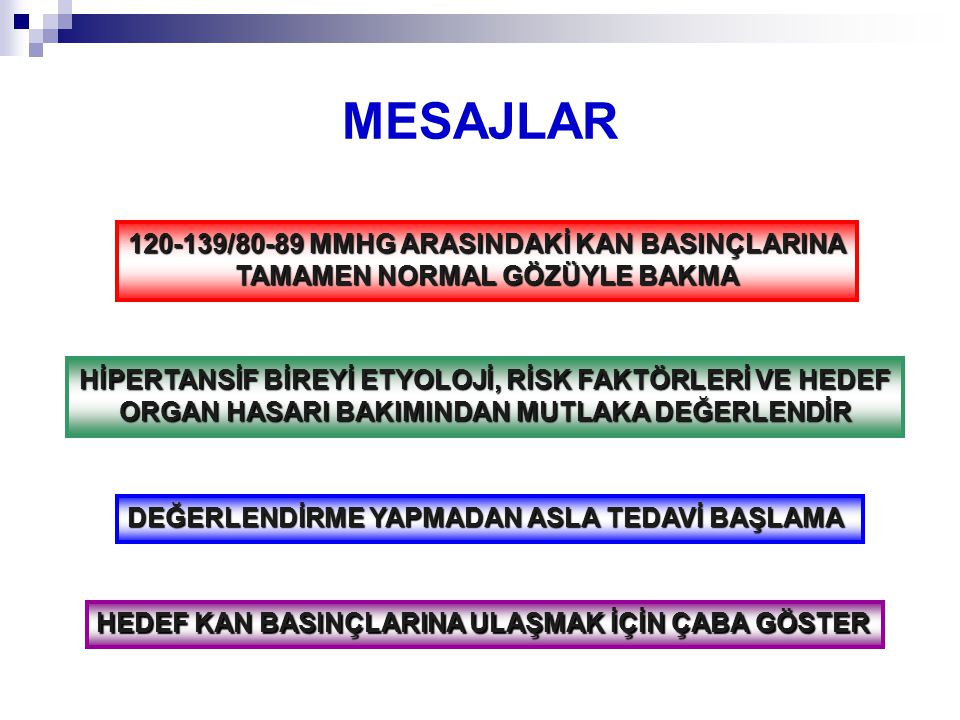 MESAJLAR 120-139/80-89 MMHG ARASINDAKİ KAN BASINÇLARINA