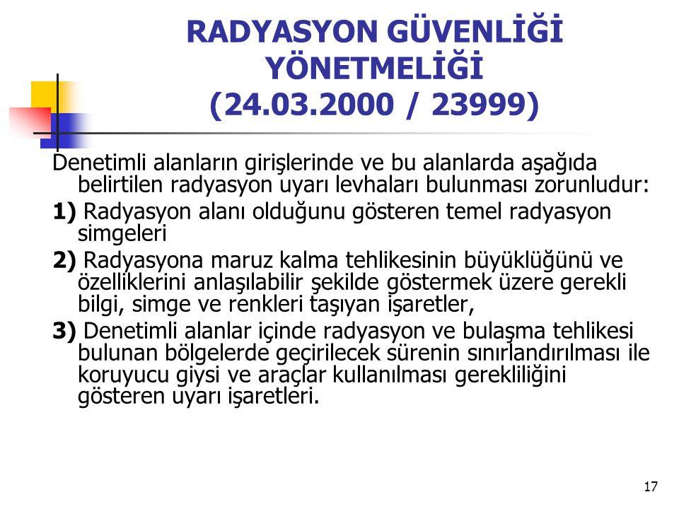 RADYASYON GÜVENLİĞİ YÖNETMELİĞİ (24.03.2000 / 23999)